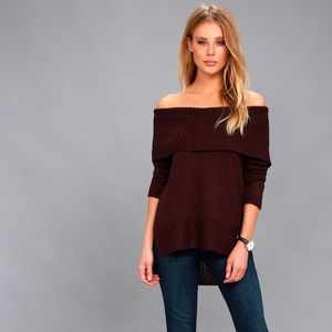 Lulus   Plum Purple Off Shoulder Sweater sz S